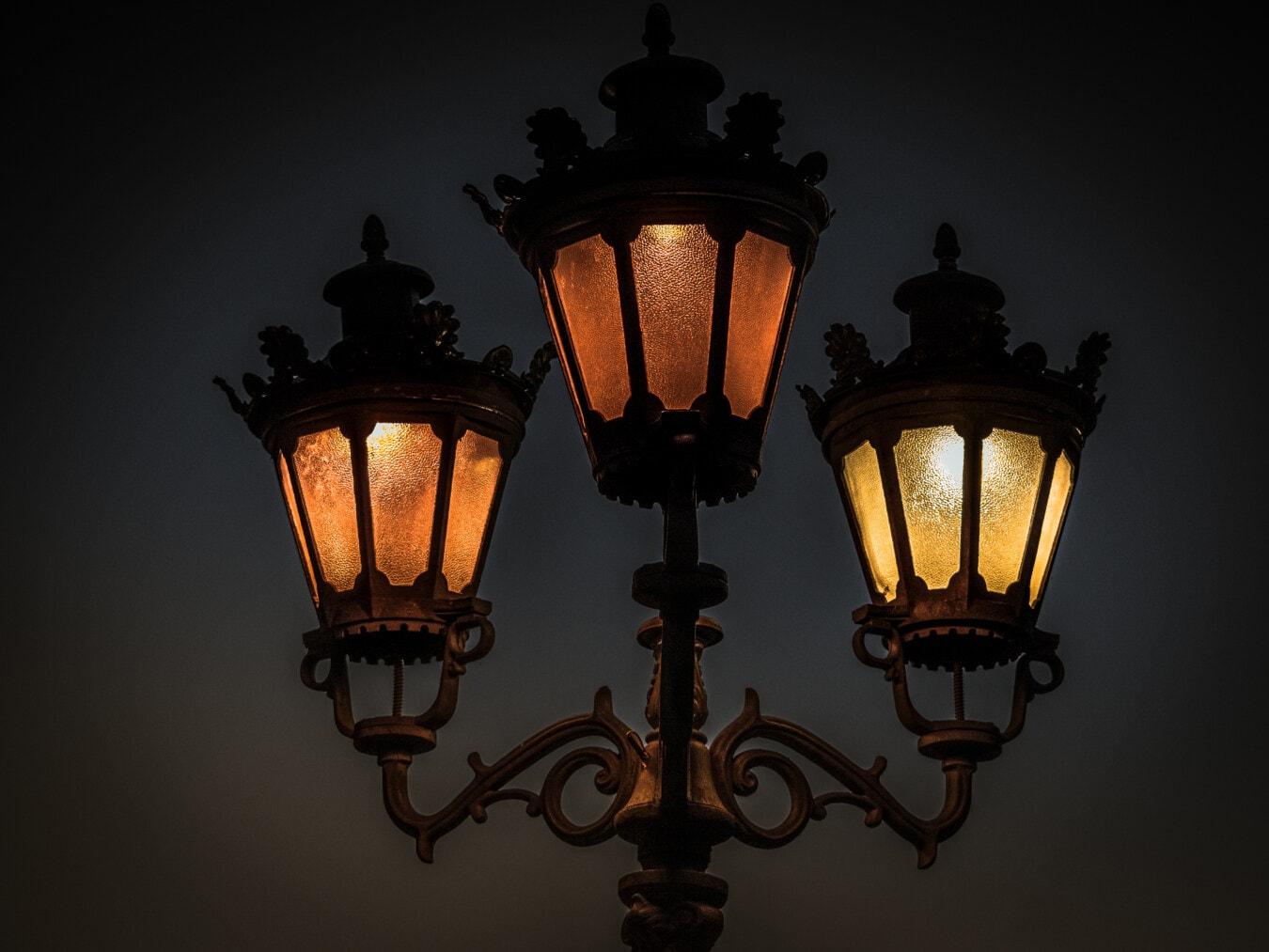 viktorianischen, Lampe, aus Gusseisen, Straße, Nachts, Gerät, Laterne, Antik, Klassiker, Retro