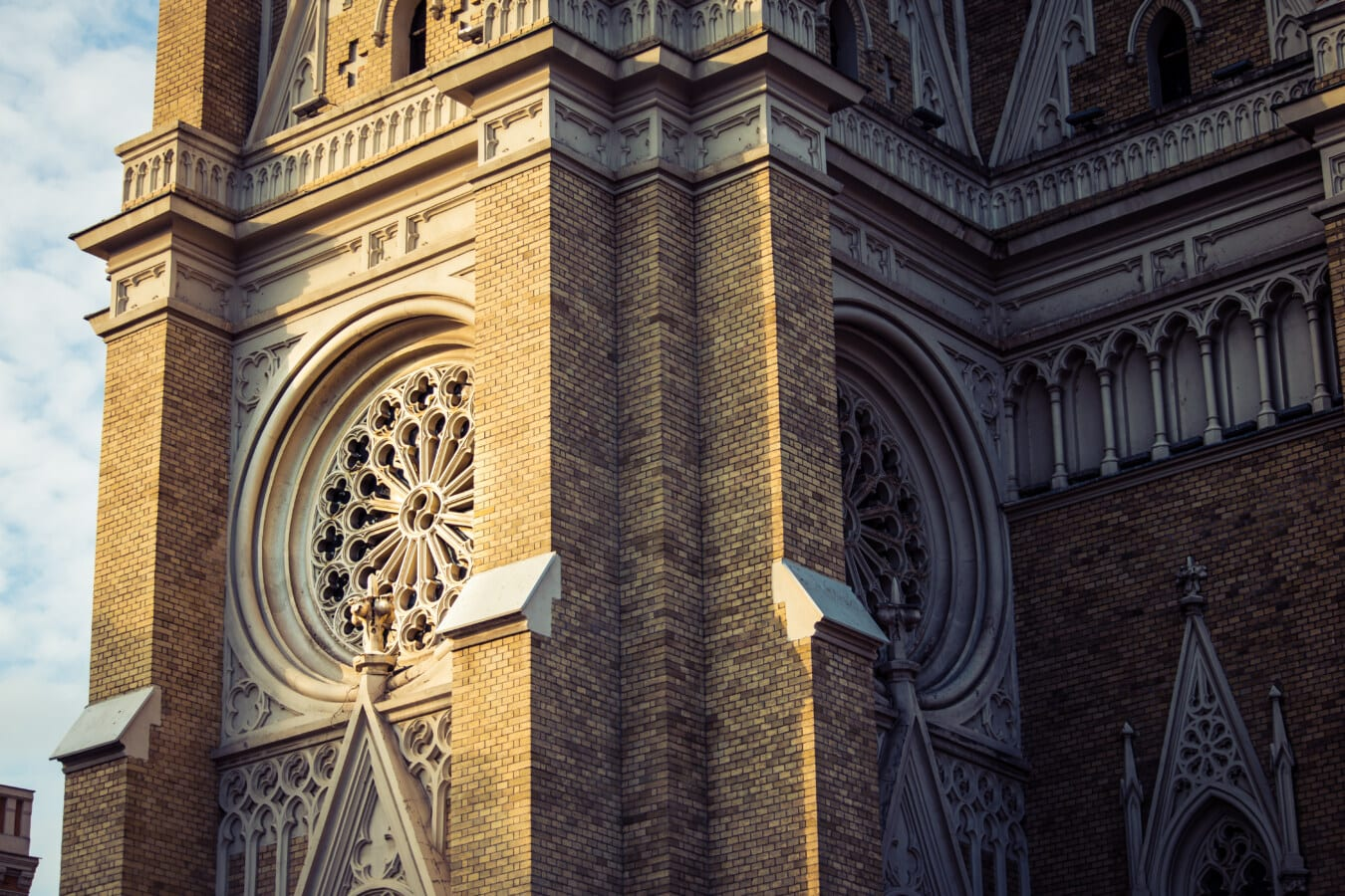 walls, cathedral, facade, catholic, light brown, bricks, shadow, corner, perspective, sunlight