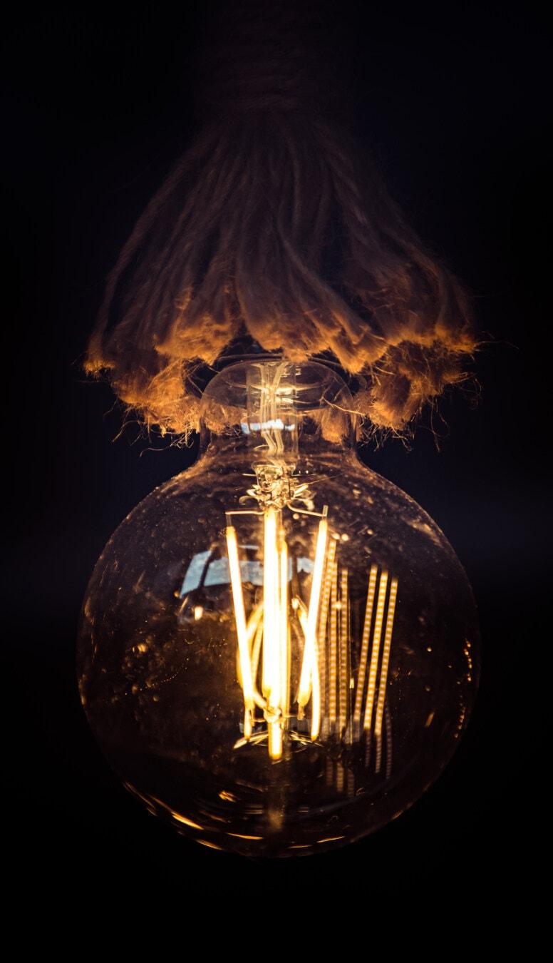 round, big, light bulb, rope, hanging, vintage, black, background, dark, bright