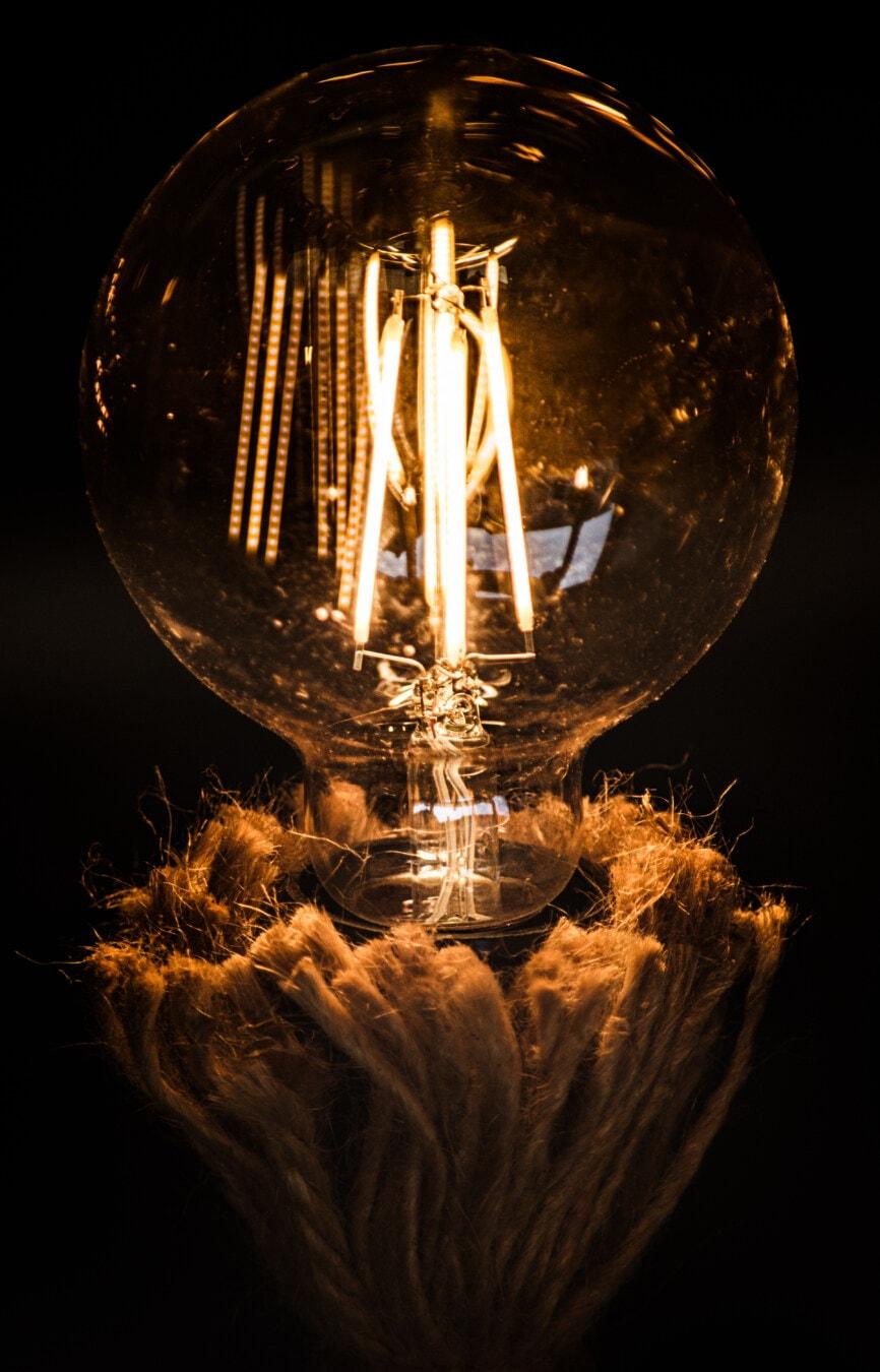 cercle, ampoule, tour, gros, électricité, style ancien, démodé, historique, vintage, fil