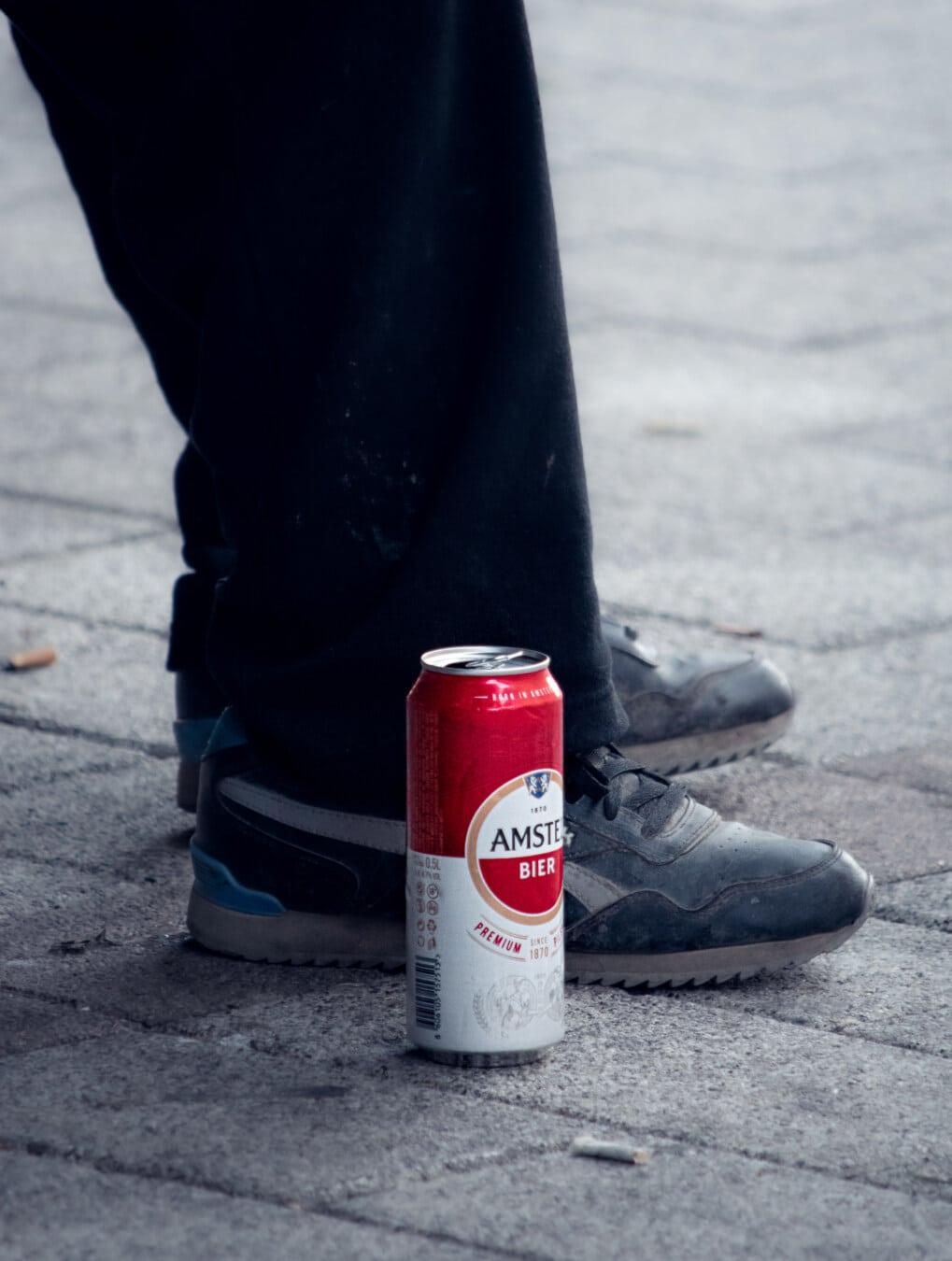 Bier, Beine, Pflaster, Menschen, Straße, Asphalt, Mann, Urban, im freien, Trinken