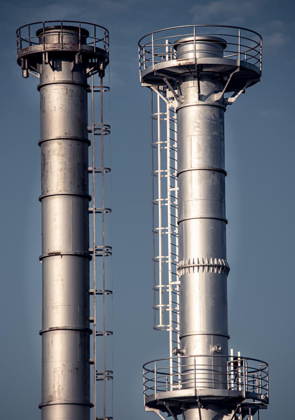 raffinerie, produit chimique, industriel, tour, installation, cheminée, pollution, Factory, secteur d'activité, en acier