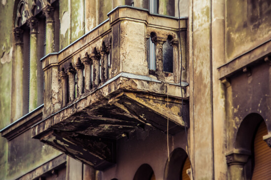 balcony, derelict, decay, concrete, old style, building, facade, architecture, house, old