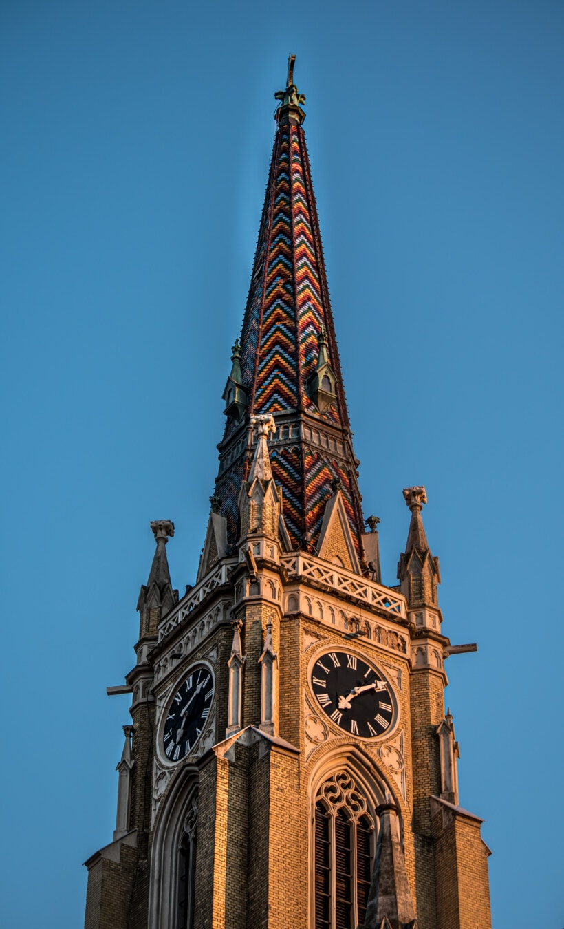 coloré, toit, pour toiture, papier de toiture, catholique, cathédrale, couvrant, bâtiment, tour, architecture