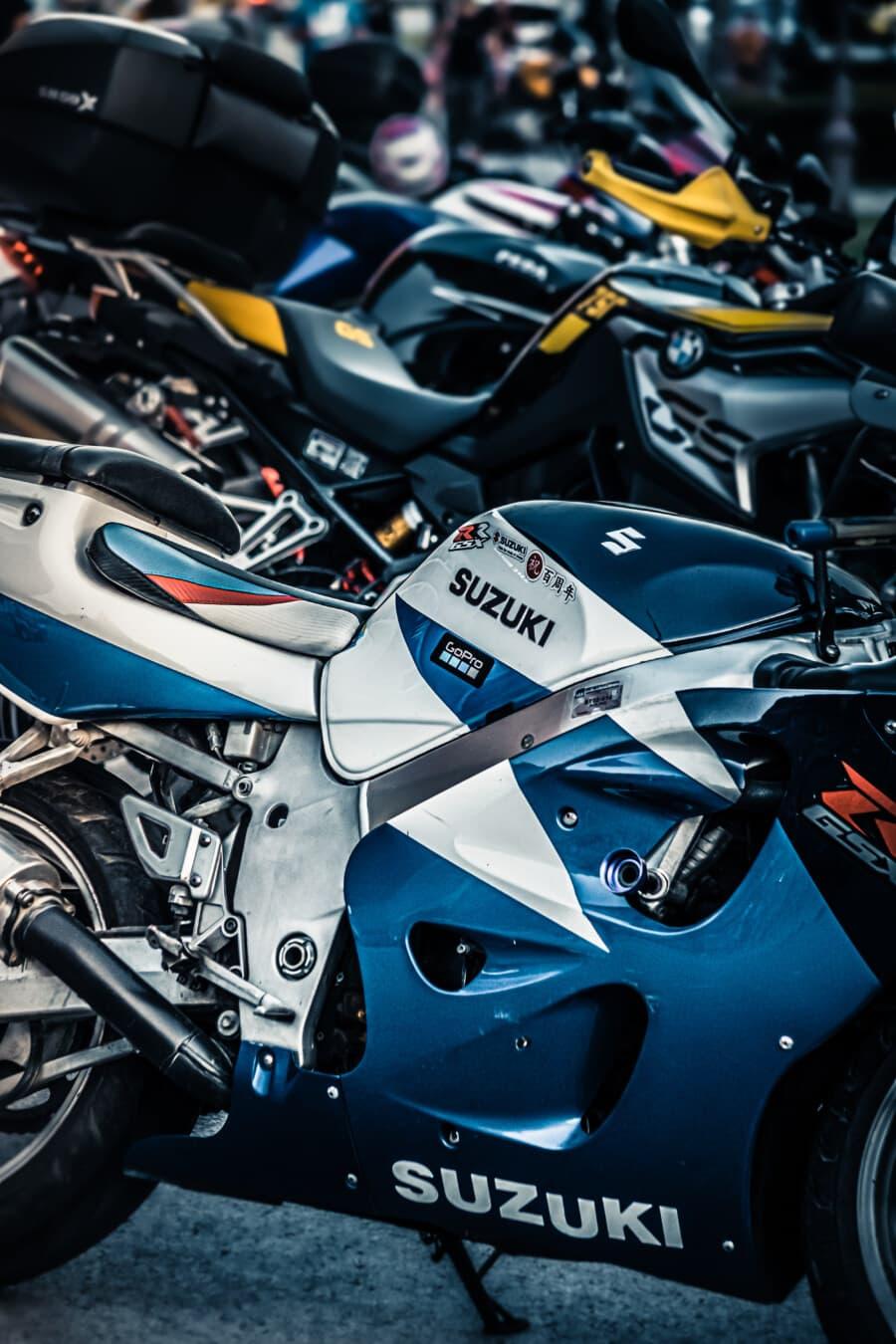 motocicletta, Suzuki, Giappone, moto, motore, veicolo, motore, sedile, veloce, bicromato di potassio