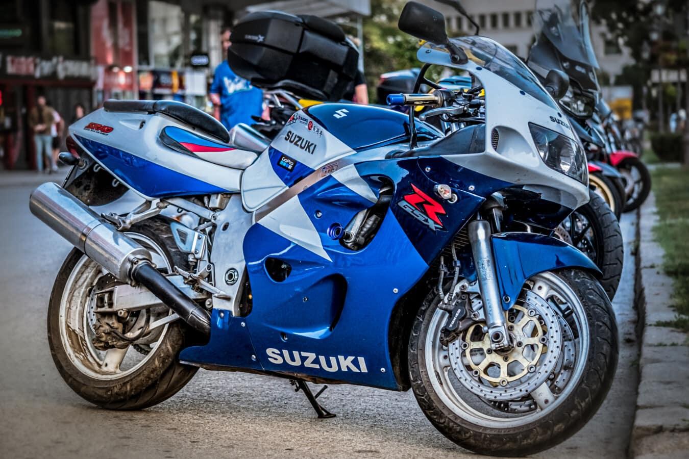 Motorrad, Suzuki, dunkelblau, Motor, metallische, Motorrad, glänzend, Straße, Parken, Geschwindigkeit