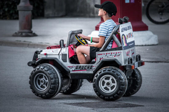 playful, playing, boy, driving, driver, toy, jeep, street, vehicle, wheel