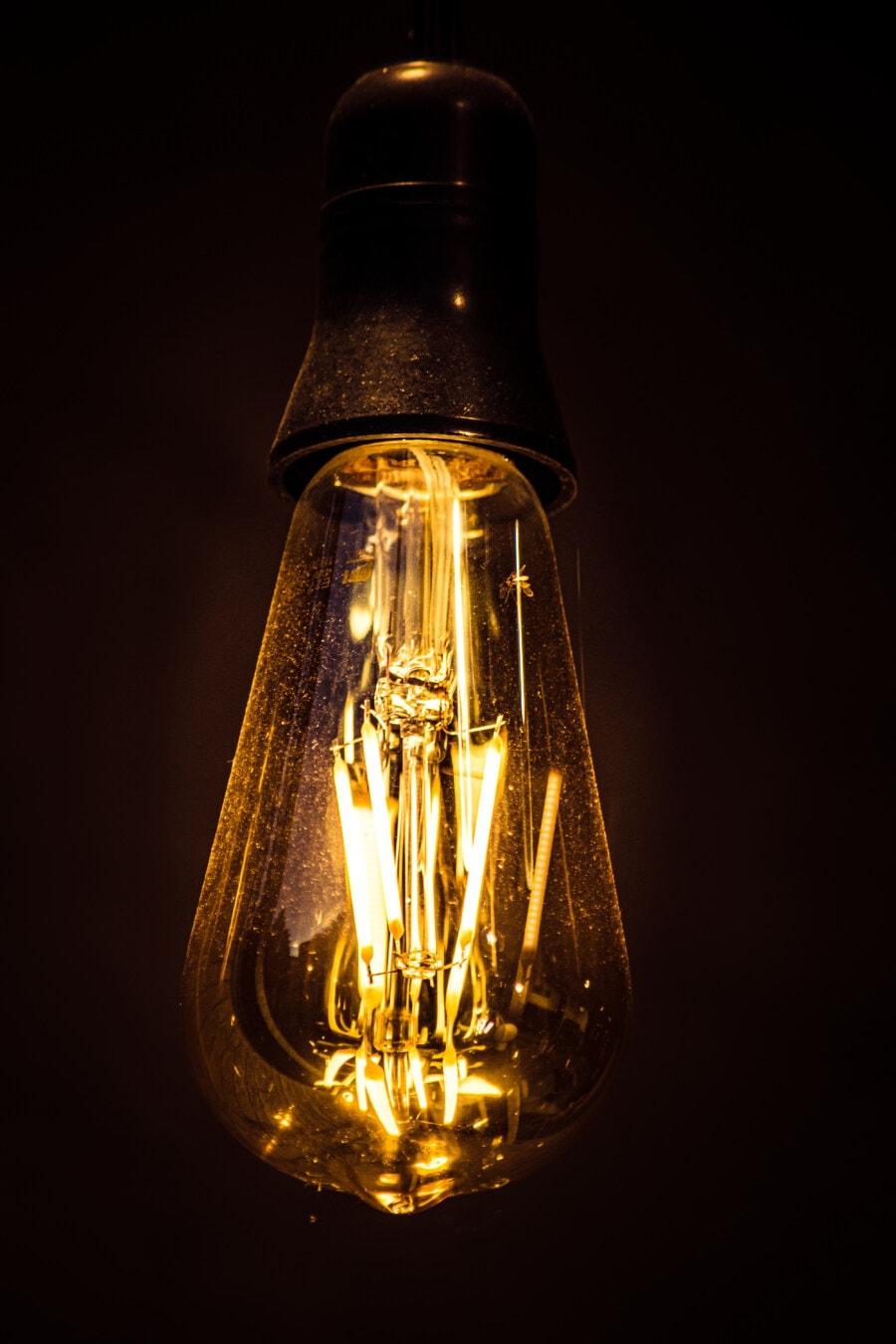 vertikale, lange, Glühbirne, Obelisk, Form, Jahrgang, Strom, Licht, Spannung, Glas
