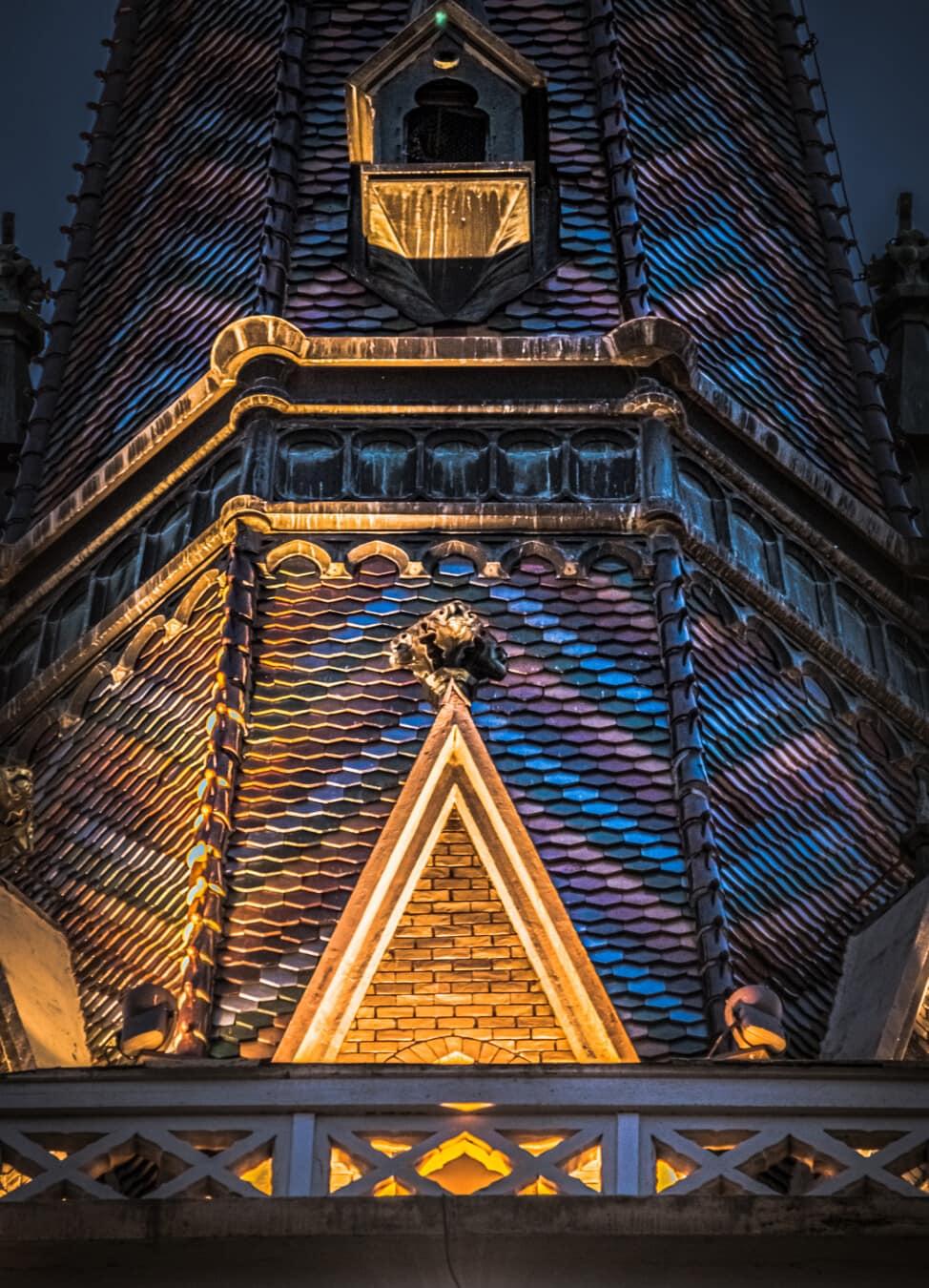 grotesk gargoyle, tagterrasse, Gotisk, kirketårnet, Tag, nat, bygning, kirke, temppeli, vartegn