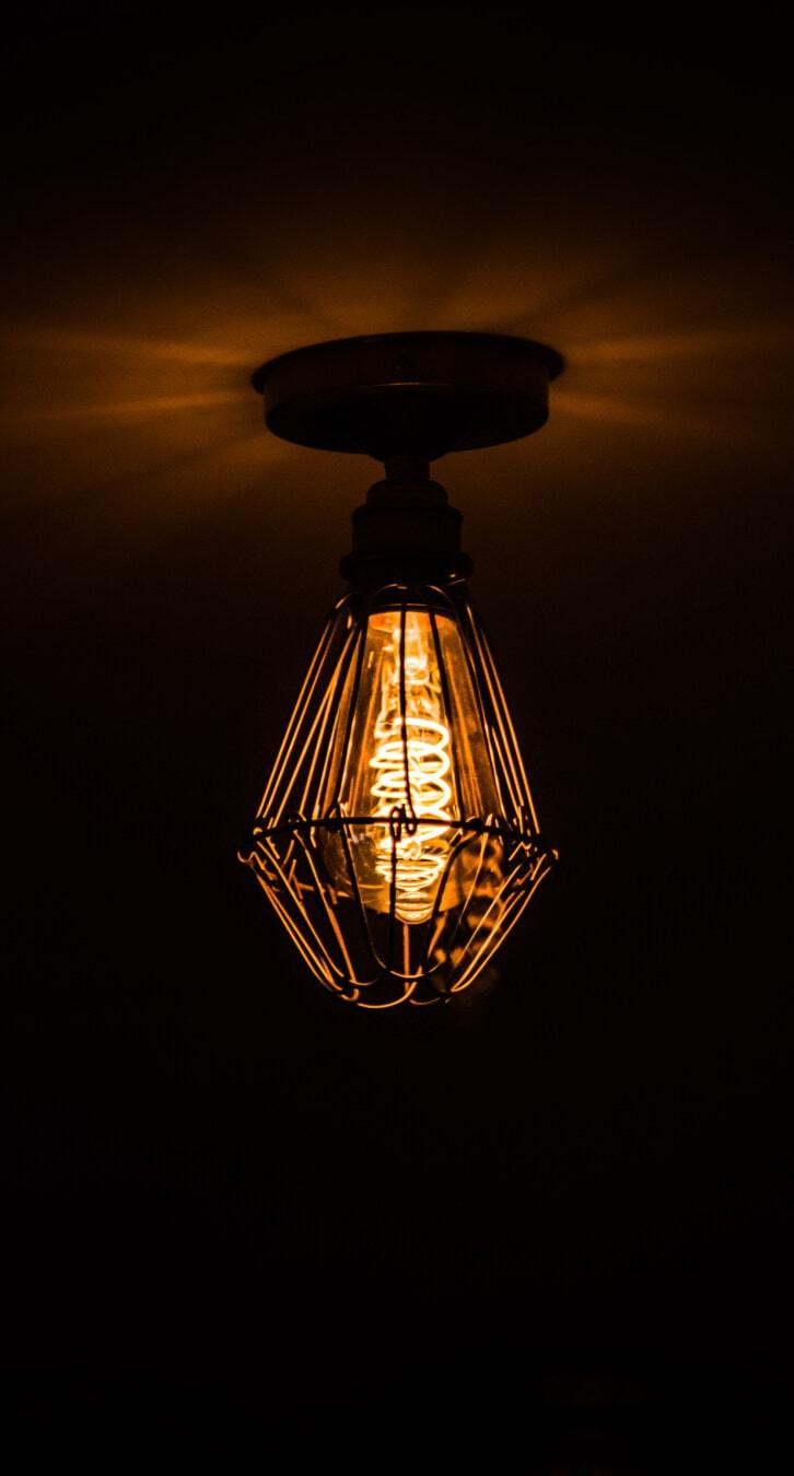 viktorianischen, alten Stil, Kronleuchter, Decke, hängende, Lampe, Schatten, Licht, Strom, Dunkel