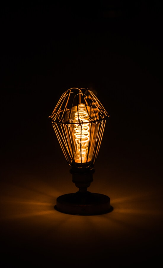 lamp, wires, handmade, vintage, light bulb, light brown, darkness, light, reflection, electricity