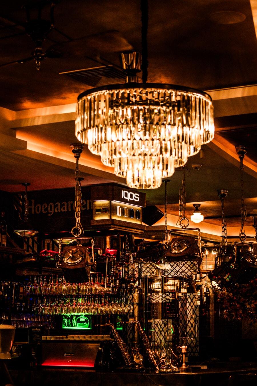 Nachtclub, Hotel, Innenraum, Restaurant, Innendekoration, Möbel, Licht, Kronleuchter, Straße, Lampe