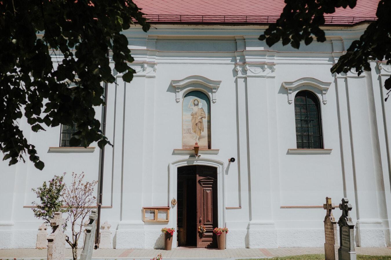 orthodoxe, Kirche, Tür, Hinterhof, Grab, Friedhof, Grabstein, Architektur, Fenster, Kunst