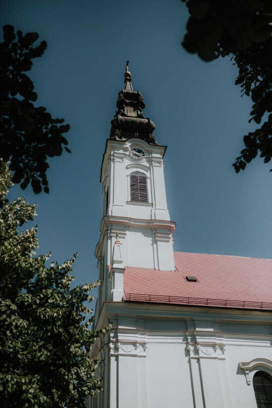 white, church tower, copper, church, architecture, religion, tower, cross, city, old