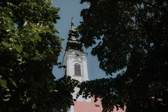 orthodox, church, church tower, trees, branches, religion, architecture, tree, tower, city