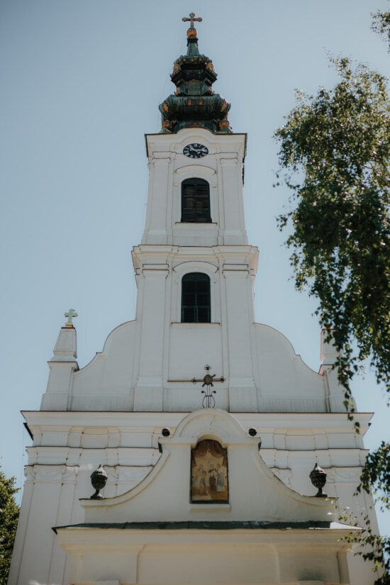white, church, church tower, orthodox, tower, religion, architecture, covering, cross, cathedral