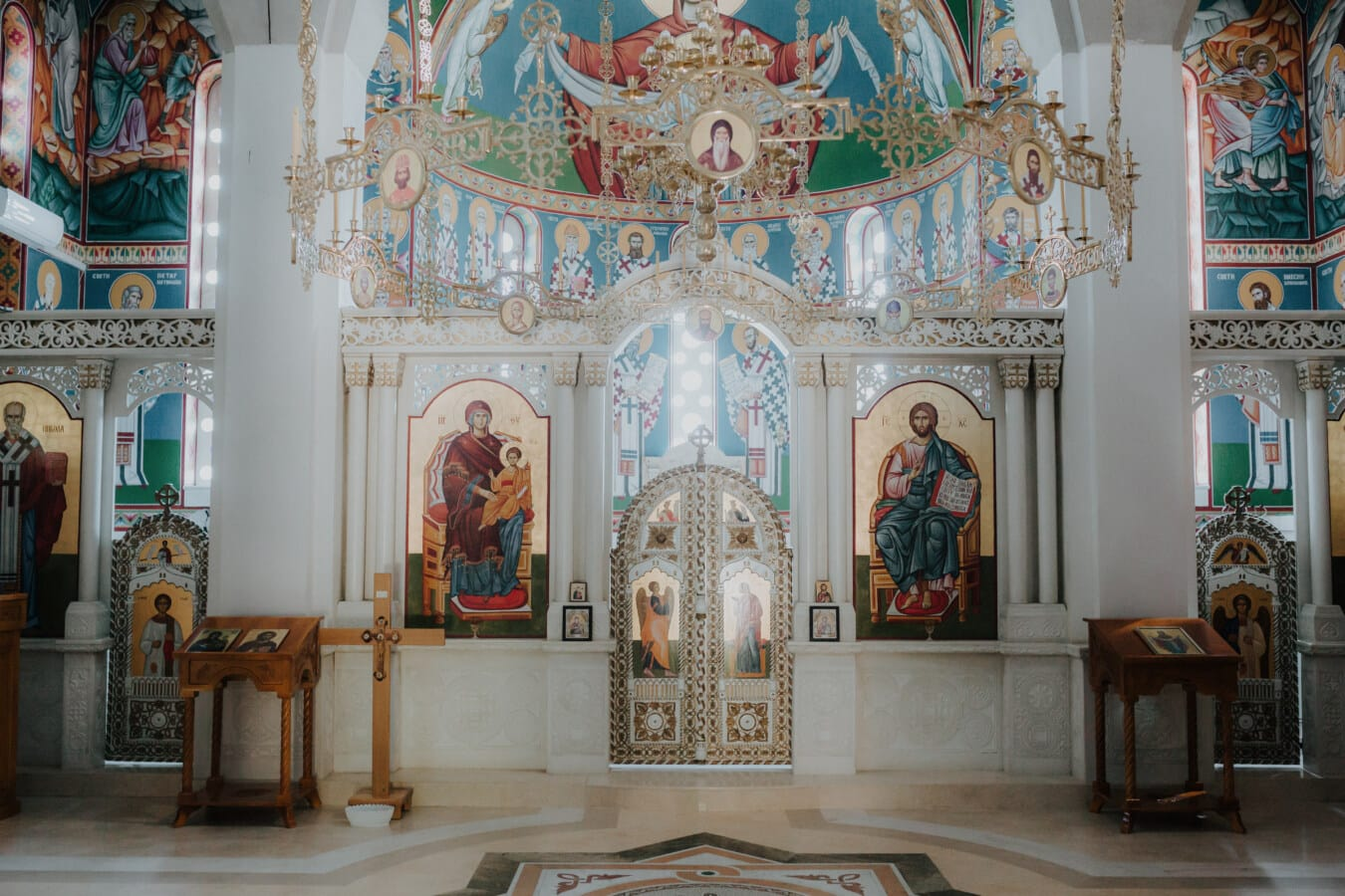 Russe, autel, église, design d'intérieur, orthodoxe, Ukraine, Byzantine, plancher, mosaïque, religion