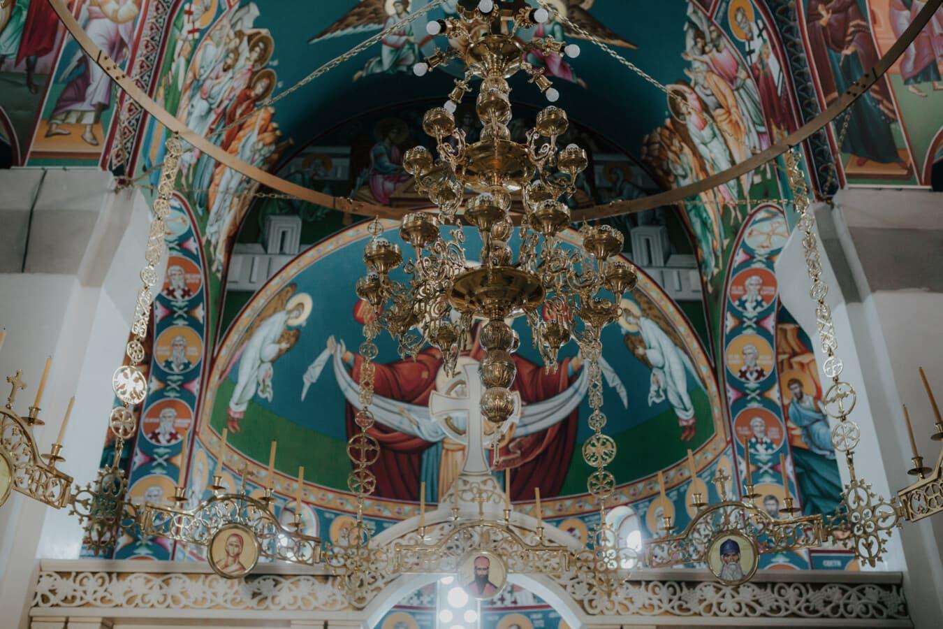 lustre, lueur dorée, or, autel, orthodoxe, au plafond, église, peinture murale, art, religion