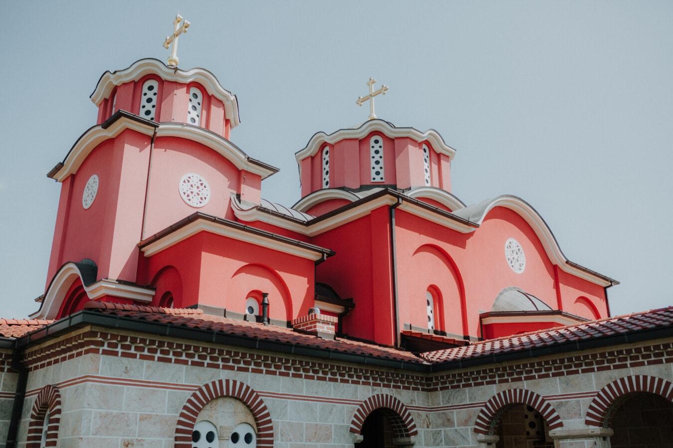 dunkelrot, Byzantinische, Kirchturm, kathedrale, Kloster, Fassade, Christentum, Architektur, Turm, Religion