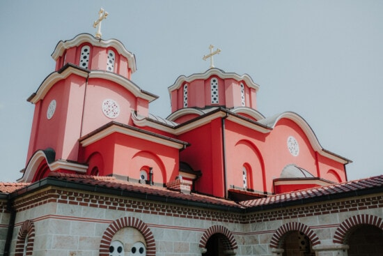 dark red, Byzantine, church tower, cathedral, monastery, facade, christianity, architecture, tower, religion