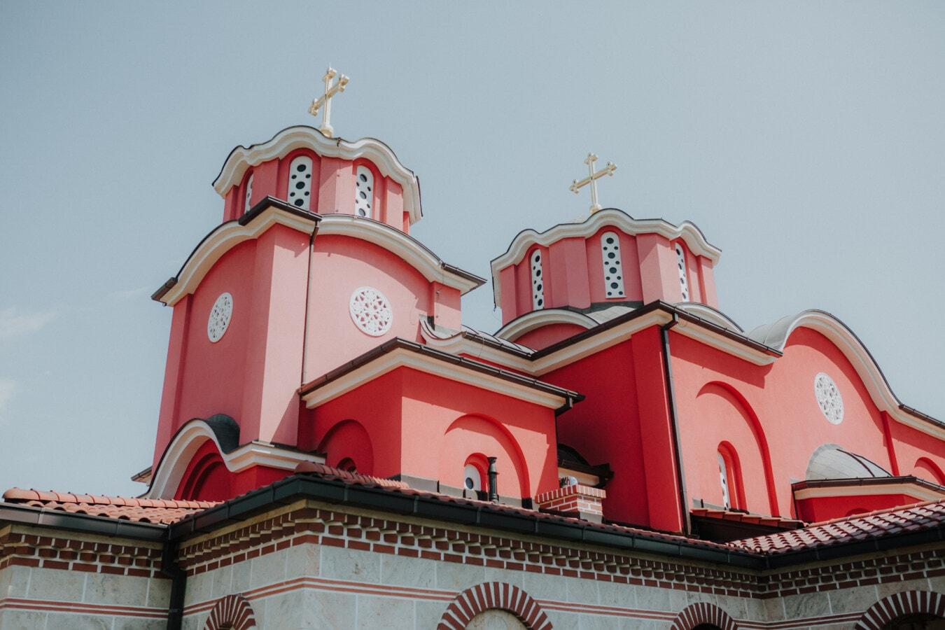 rouge foncé, couleur, Byzantine, tour, steeple, monastère, église, patrimoine, médiévale, orthodoxe