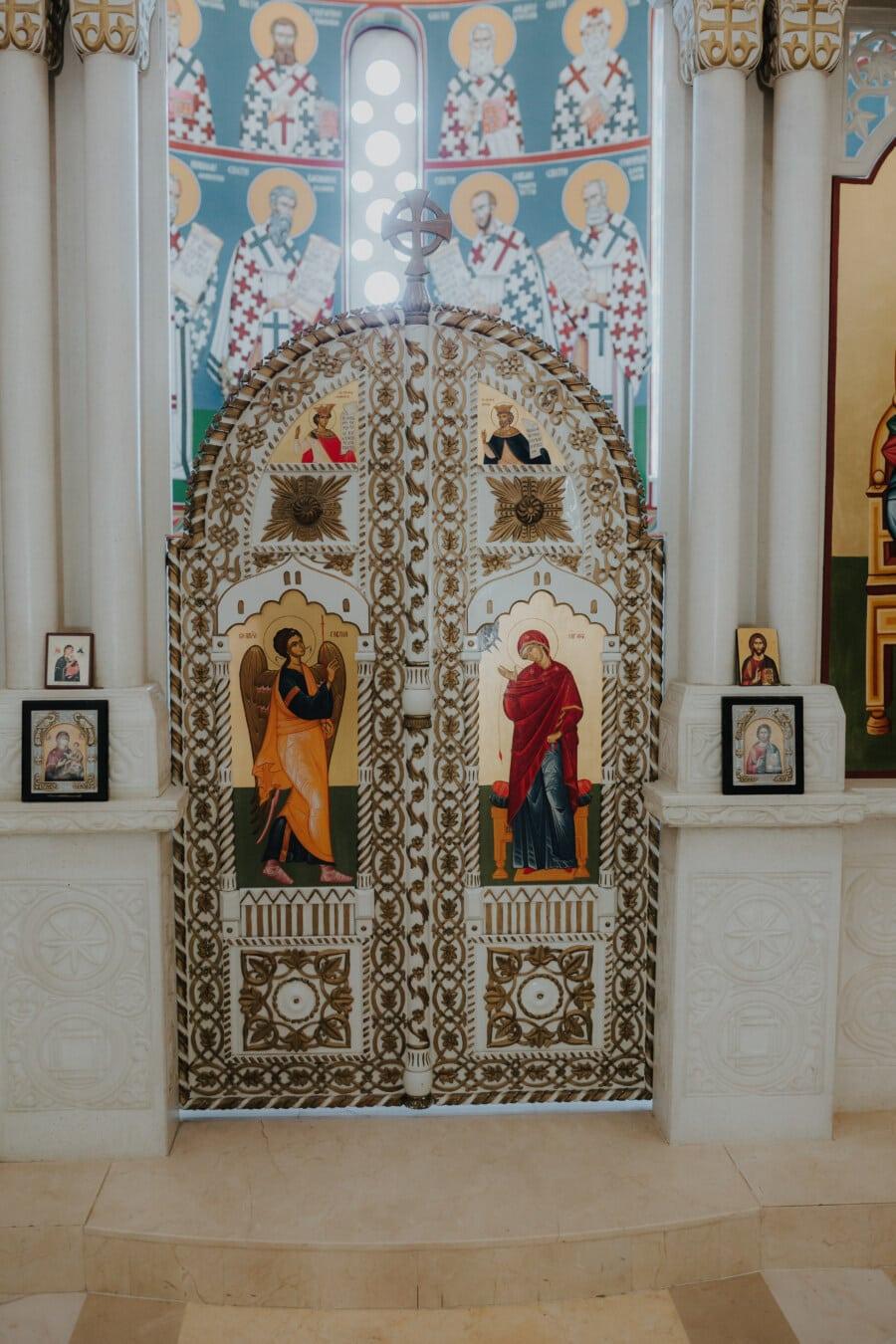 orthodoxe, Tür, Altar, Malerei, Bildende Kunst, handgefertigte, Heilige, Engel, Gewand, Tempel