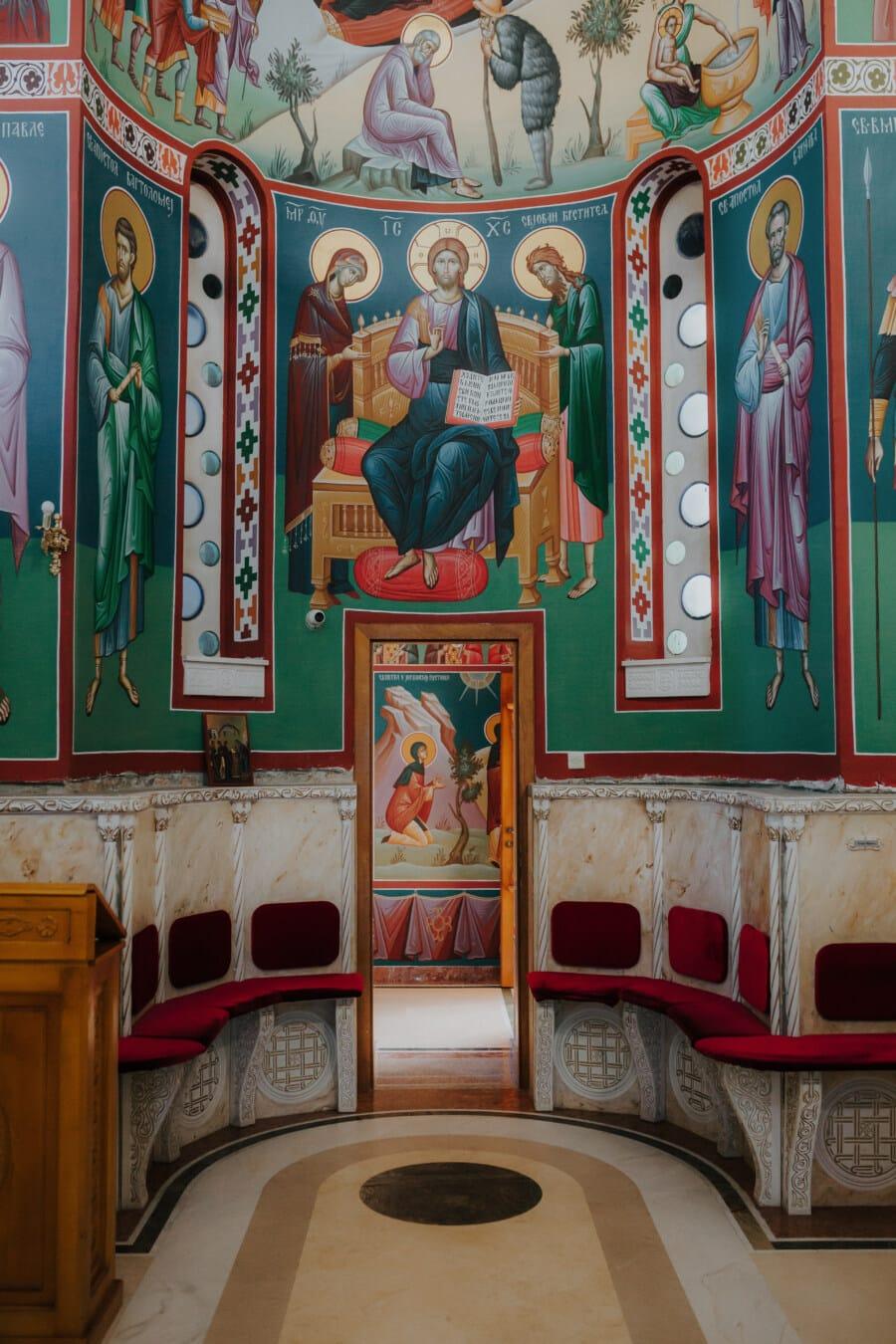 Kapelle, Kloster, orthodoxe, Abbildung, Bildende Kunst, Heilige, Interieur-design, Kirche, Stühle, handgefertigte