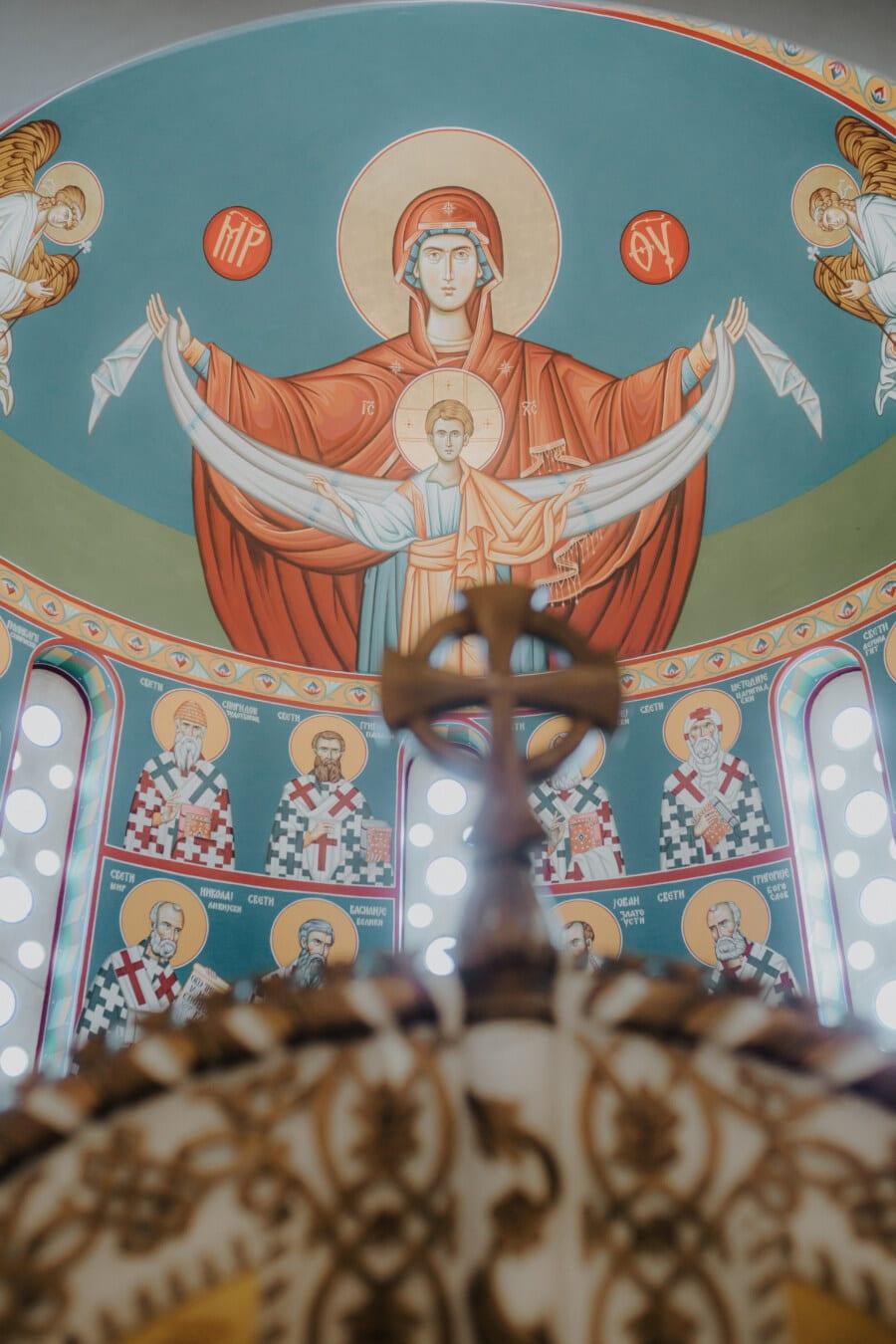beaux arts, peinture murale, orthodoxe, religion, Saint, Christ, Christianisme, décoration d'intérieur, au plafond, coloré