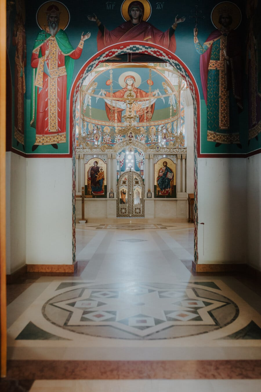 passerelle, autel, orthodoxe, église, peinture murale, mur, structure, religion, architecture, à l'intérieur
