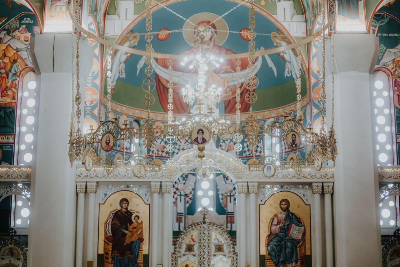 goldener Glanz, Kronleuchter, orthodoxe, Byzantinische, Interieur-design, Kirche, Heilige, Göttin, Bildende Kunst, Altar