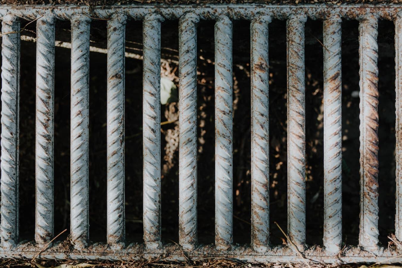 eaux usées, système, drain, fer de fonte, Stripes, vertical, réseau d'égouts, rouille, en acier, texture