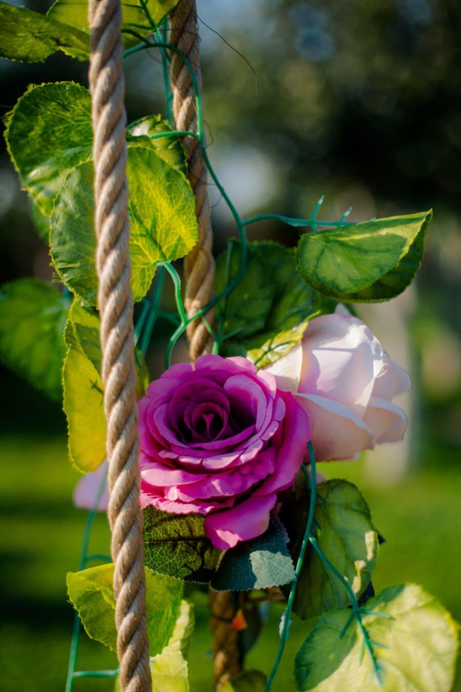 rose, plastic, pinkish, rope, decoration, arrangement, flower, leaf, bouquet, garden