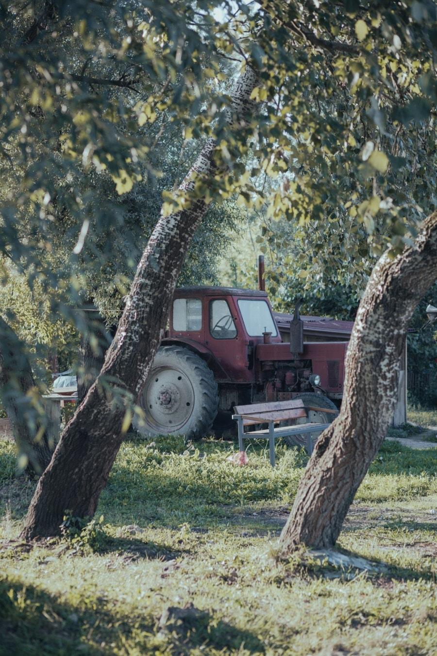 rural, arrière-cour, tracteur, machines, rouge foncé, rouille, style ancien, arbre, nature, ferme