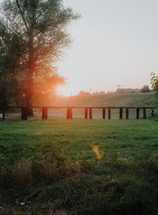Dämmerung, Hügel, Landschaft, des ländlichen Raums, Espe, Sonnenfleck, Sonnenstrahlen, aus Holz, Brücke, Landschaft