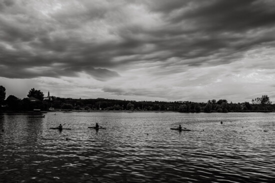 lakeside, black and white, clouds, canoeing, recreation, sunset, reflection, water, lake, monochrome
