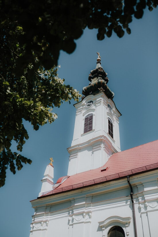 white, church tower, church, cross, covering, religion, tower, building, architecture, temple