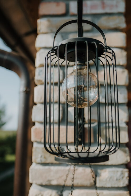 lantern, old style, classic, wires, cast iron, old, round, light bulb, steel, iron