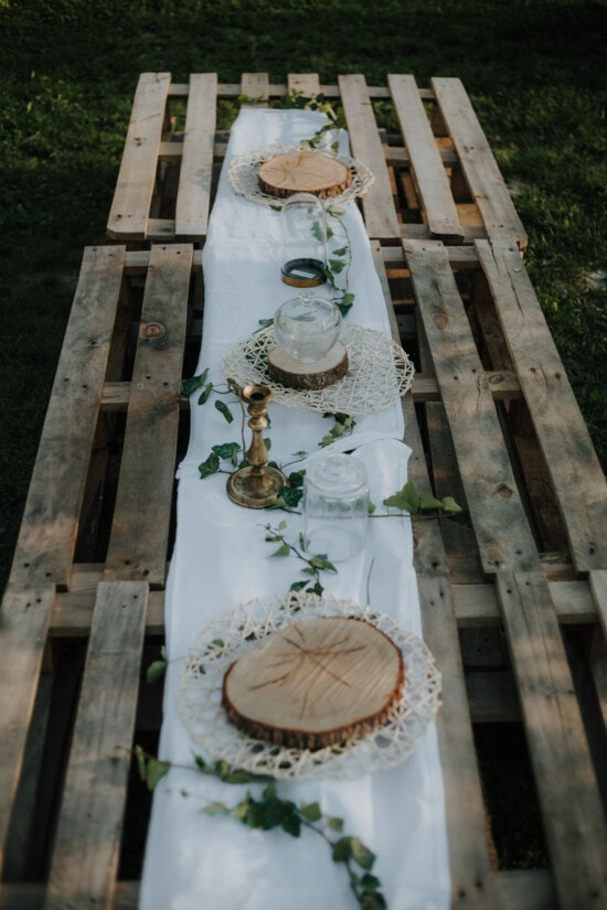 handmade, table, pallet, vintage, pitcher, candlestick, tablecloth, wood, outdoors, furniture