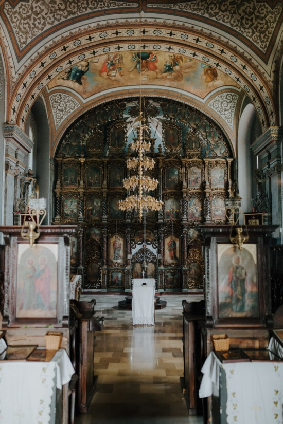 inside, christianity, orthodox, church, chandelier, altar, ceiling, fine arts, painting, arch
