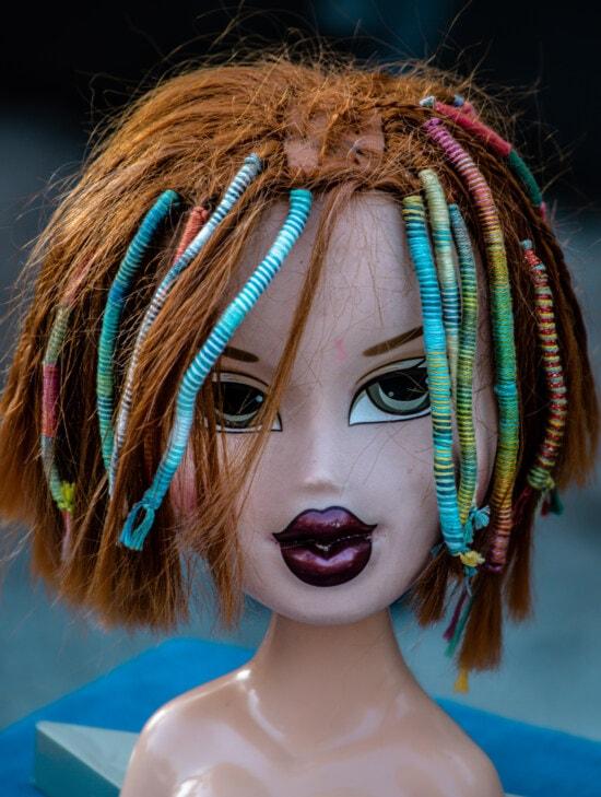 ブルネット, 人形, 女の子, 毛深い, グッズ, トレンディな, 頭, 髪型, ビーズ, ファンシー