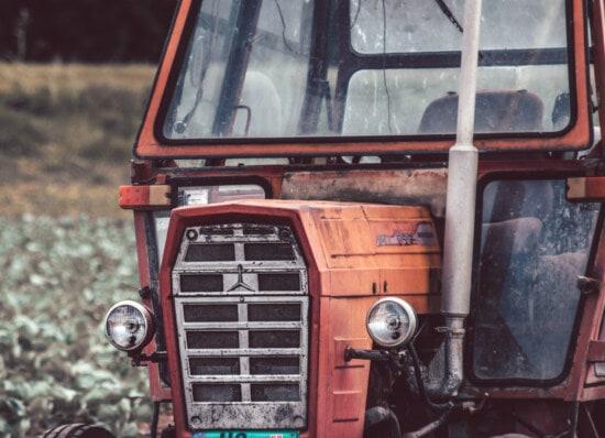 traktor, gammel stil, forlygte, gamle, helt tæt, transport, køretøj, retro, årgang, klassikko