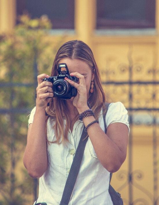 photographer, photography, blonde, photojournalist, standing, paparazzi, digital camera, woman, girl, lens