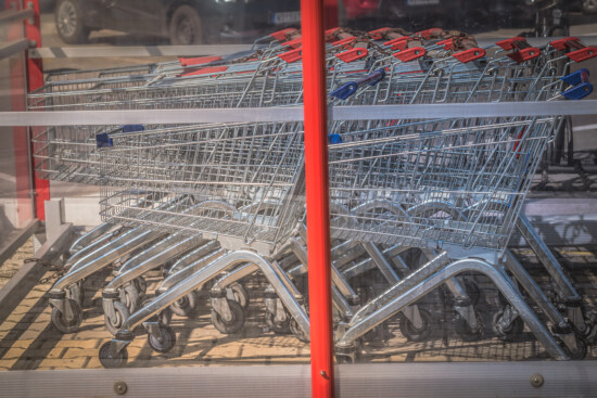 trolley, cart, shopping, stacks, mall, parking lot, handcart, container, commerce, stock