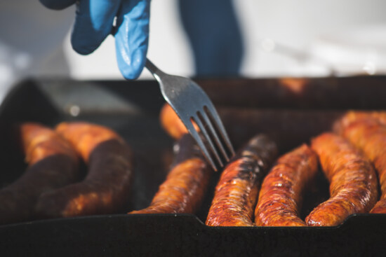 cooking, barbecue, sausage, raw meat, roasting, gloves, latex, protection, fork, food
