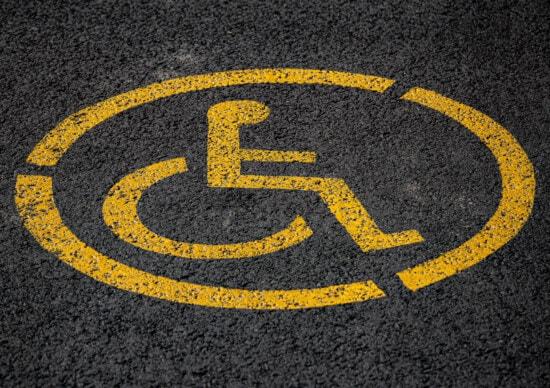 cu handicap, scaun cu rotile, semn, parcare, parcare, Avertisment, asfalt, galben, Simbol, drumul