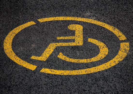 wheelchair, sign, caution, parking lot, symbol, disabled, traffic, asphalt, road, warning