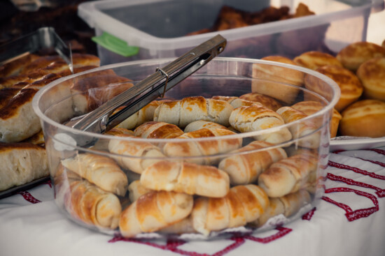 homemade, pastry, baked goods, dough, donut, snack, crescent, breakfast, meal, food