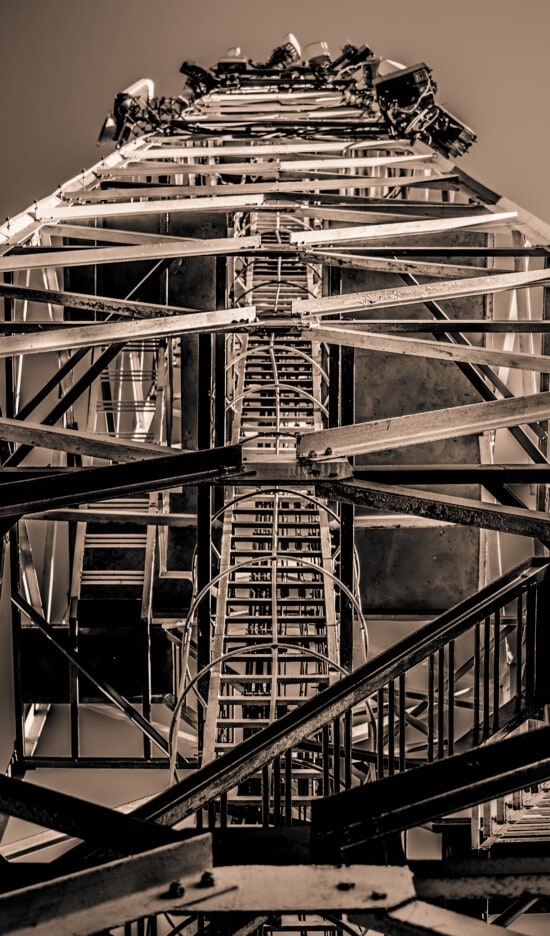 black and white, sepia, construction, high, tower, metal, architecture, ladder, monochrome, urban