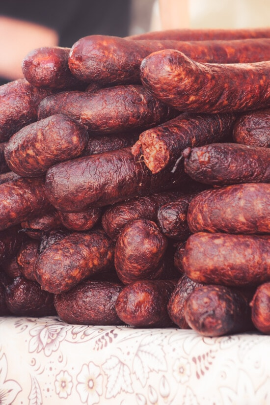 craft, sausage, homemade, pork, organic, dark red, delicious, meat, beans, pile