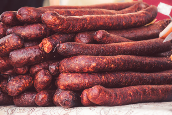 beef, sausage, homemade, craft fair, craft, traditional, spice, pork, food, meat